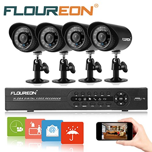 Floureon 8CH 960H Onvif Hybrid DVR with 4PCS Night Vision Built-in Waterproof LED High Resolution Outdoor 900TVL IR Cameras Surveillance CCTV Security Camera System (No HDD)