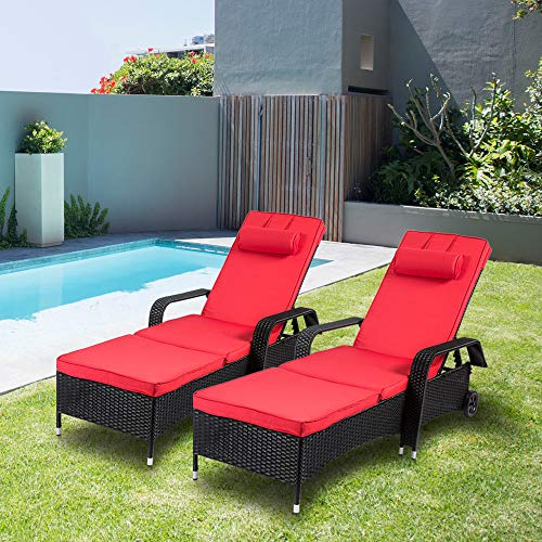 Kinsuite 2 Piece Poolside Lounge Chairs with Wheels Rattan Wicker Chaise Reclining Adjustable Outdoor Patio Furniture, Red (Lounge Reclining Chaise Outdoor)