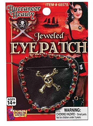 Forum Novelties Pirate Wench Jeweled Skull & Crossbones Adult Costume Eyepatch One Size Black