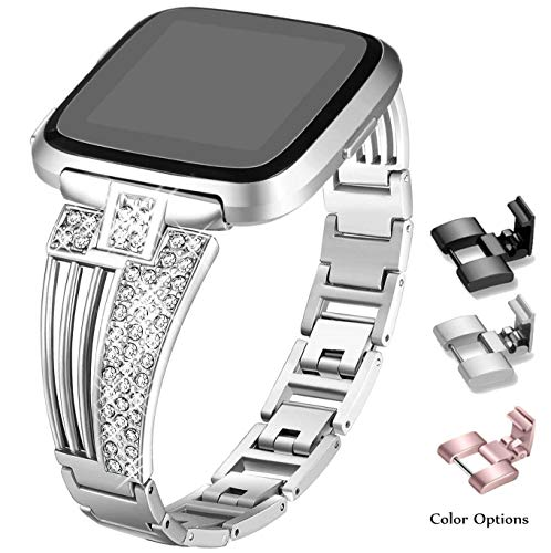 Sannyway Compatible with Fitbit Versa Bands Replacement with Bling Rhinestones Metal Bracelet Wristband Strap Accessory (Silver)