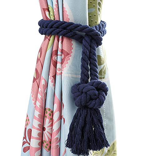 Melanovo 4 Pack Curtain Tiebacks, Handmade Natural Cotton Rope and Round Finial Drapery Tie Bakes, Decorative Holdbacks Holders for Window Sheer and Blackout Panels (Navy Tassel)