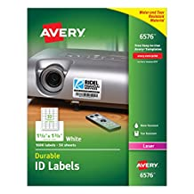 """Avery Durable ID Label - Permanent Adhesive - """"1 1/4"""" Width x 1 3/4"""" Length - 32 / Sheet - Laser - White - Polyester - 1600 / Pack"""