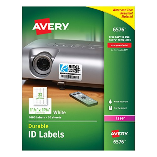 Avery Permanent Durable I.D Labels for Laser Printers, 1.25 x 1.75, White, Pack of 1600 (6576)