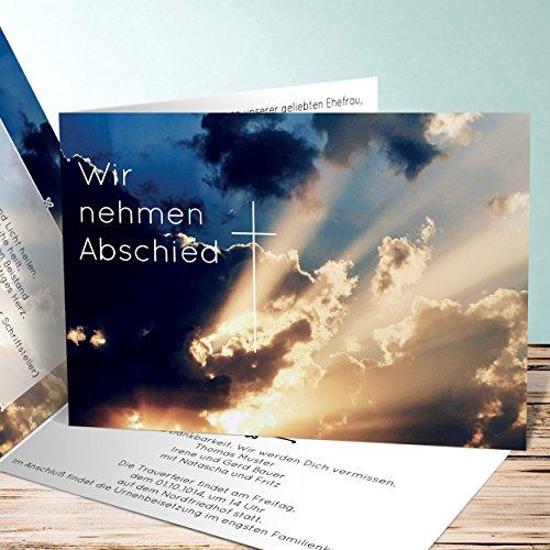 Einladungskarten Beerdigung, Sonnendurchbruch 80 Karten, Horizontale Klappkarte 148x105 inkl. weiße Umschläge, Blau