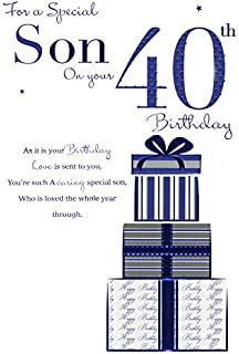 Happy 40th Son Birthday Wishes Greeting Card   Red Car: Amazon.co