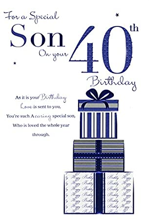 Son On Your 40th Birthday Card Amazoncouk Kitchen Home