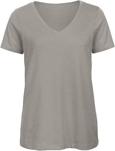 B&C - Camiseta de algodón orgánico Manga Corta con Cuello en v ...