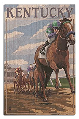 Kentucky - Horse Racing Track Scene (Wood Wall Sign, Wall Decor Ready to Hang)