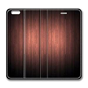Dark Red Wooden Texture Standing Leather Smart Cover Case Exclusive for iPhone 6 plus with 5.5inch Screen by icecream design