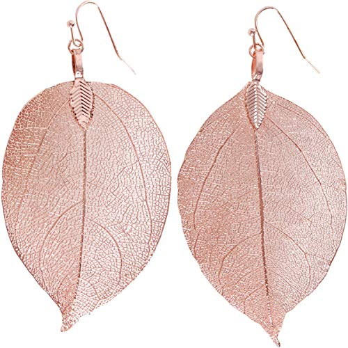Humble Chic Natural Leaf Earrings - Lightweight Filigree Long Drop Dangle Earrings for Women, Large Rose Gold-Tone, Pink, 2 to 3.5 inches