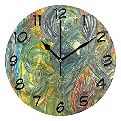 DJROW Abstract Watercolor Indoor Modern Simple Round Wall Clock Office Kitchen Bedroom Living Room Decor 9 Inch(24cm)