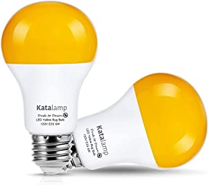 LED Dusk to Dawn A19 Bug Light Bulbs - Yellow Bulb, Amber Light, Automatic Sensor Bulb, LED Porch Lights, Security Outdoor Bulb, Auto On/Off, 2000K E26 40W Equivalent, 2 Pack by Katalamp
