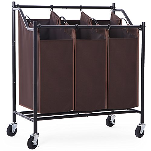 SONGMICS 3-Bag Laundry Sorter with Wheels Heavy Duty Laundry Hamper