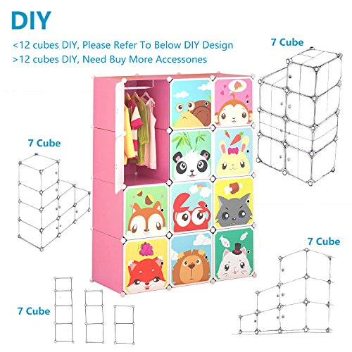 Tespo Portable Clothes Closet Wardrobe for Children and Kids, Cute Cartoon, DIY Modular Storage Organizer, Sturdy and Safe Construction, 12 Deeper Cubes with Hanging Rods, Pink by Tespo (Image #4)