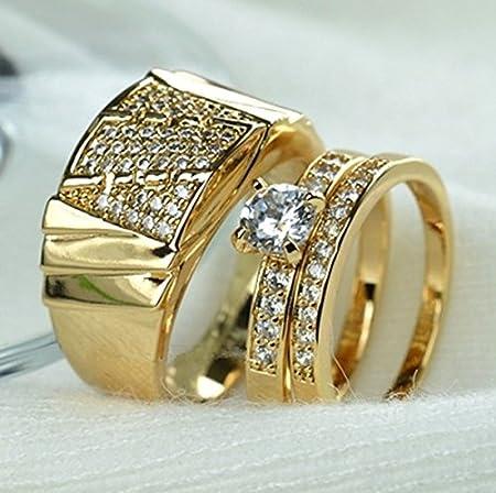 Anillo de oro amarillo de 18 quilates para pareja, anillo de compromiso, anillos de joyería para mujeres, anillos de boda, conjuntos de anillo moderno Mens Ring 10: Amazon.es: Hogar
