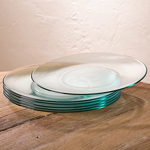 (Color Cast Recycled Glass Dinner Plates - Set of 6-13 Diameter - Clear)