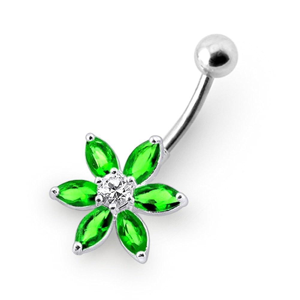 Jeweled Fancy Flower Sterling Silver Belly Bars Piercing