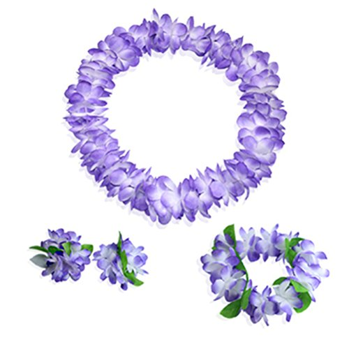 Hawaiian Luau Purple Flower Leis Jumbo Necklaces Bracelets Headband Set