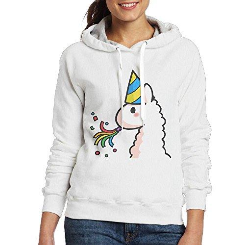 Price comparison product image Grhoodie1 Birthday Llama Women's Long Sleeve Pullover Hooded Sweatshirt White Size S