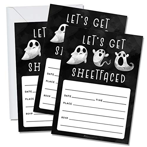 25 Adult Halloween Party Invitations with Envelopes Set Fall Theme Costume Party Spooky Birthday Invites Supplies Funny Let's Get Sheetfaced Bash Drinking Parties College Frat Sorority Decorations