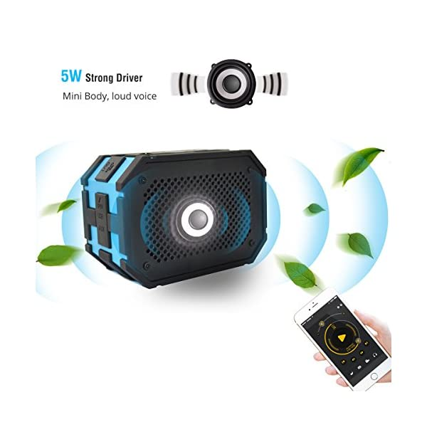 JTD-Waterproof-Floating-Speaker-Armor-Portable-Bluetooth-Speaker-Blue-5W-Strong-DrivePassive-Radiator-for-Rich-Immersive-Sound-Waterproof-Shockproof-and-Dustproof-Outdoor-with-Power-Supply