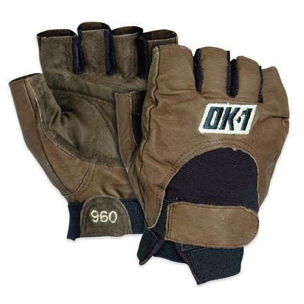 OK1 GLV1027S Half-Finger Impact Gloves, Small, Brown (Case of 4)