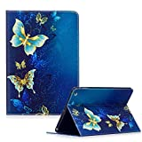 Apple iPad Air (iPad 5) Case Cover,Funyye Beautiful New 3D Pattern Premium PU Leather with Magnetic Clouse Flip Folio Book Stand Case for Apple iPad 5 (Apple iPad Air 2013 Generation)-Blue Butterflies