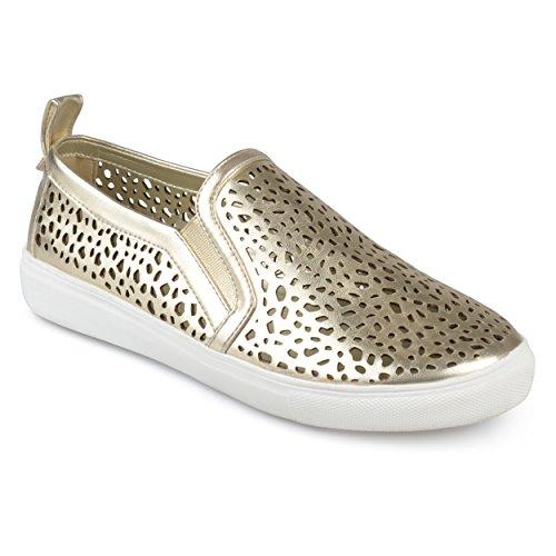 Journee Collection Womens Laser-cut Slip-on Sneakers Gold x5TJVl