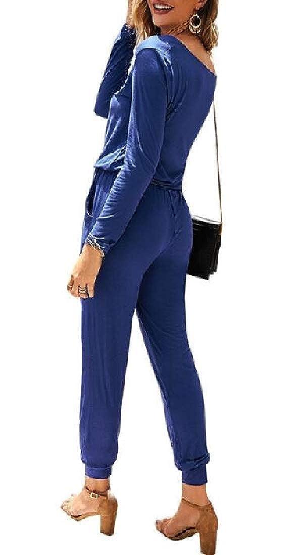 GAGA Women Fashion Long Sleeve V Neck Rompers Long Pants Jumpsuit