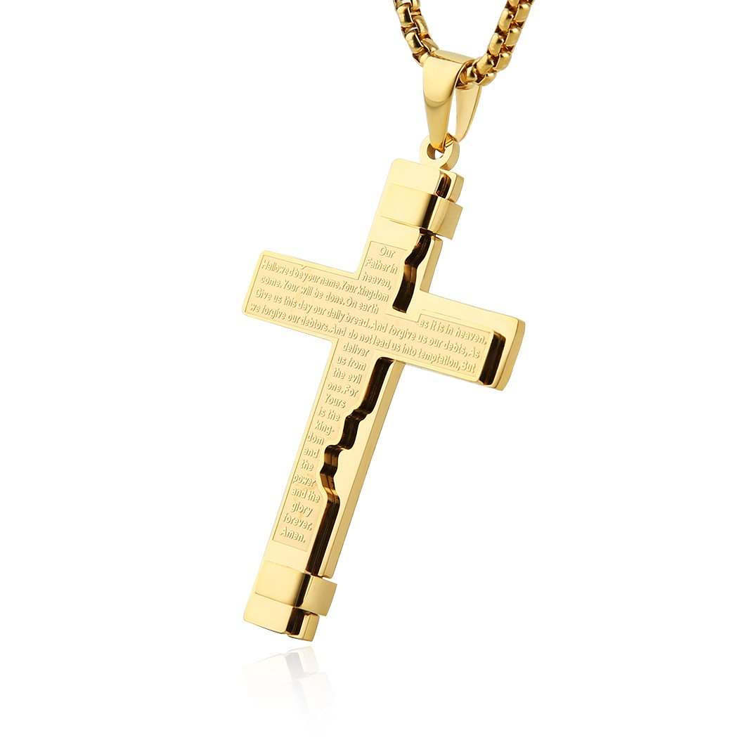 HZMAN Religion Cross Lord's Prayer Stainless Steel Pendant Necklace Rolo Cable Wheat Chain (Gold)
