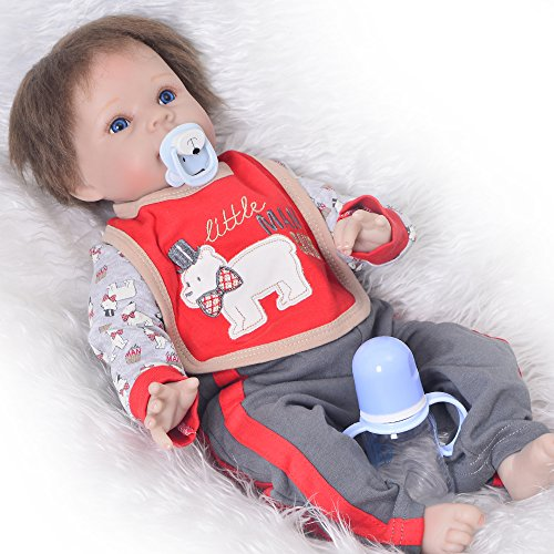 22'' Reborn Baby Doll Lifelike Silicone Boy Dolls Realistic Newborn Babies Toy That Look Real Kids Birthday Xmas Gift (Silicon Baby Dolls That Move)