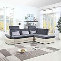 Classic Large Faux Leather and Microfiber L-Shape Sectional Sofa Couch with Chaise Lounge and Adjustable Headrest (White / Dark Grey)