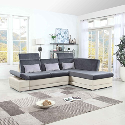 Leather L-shape Sectional Sofa (Classic Large Faux Leather and Microfiber L-Shape Sectional Sofa Couch with Chaise Lounge and Adjustable Headrest (White / Dark Grey))