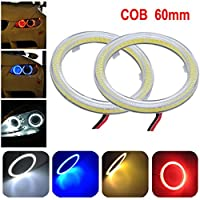 Ecosin Fashion 2pcs White 90MM COB LED Angel Eyes Headlight Halo Ring Warning Lamps with Cover Car Light