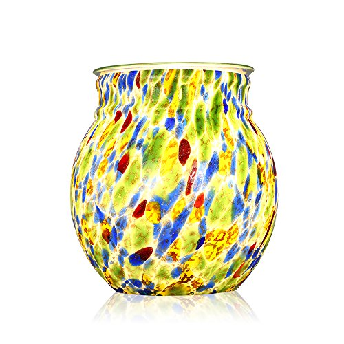Oil Tart Warmer - COOSA Colorful Glass Electric Oil Warmer or Wax Tart Burner Incense Oil Warmer Fragrance Warmer Night Light Aroma Decorative Lamp for Gifts & Decorfor Suit for Home Office Bedroom Living Room