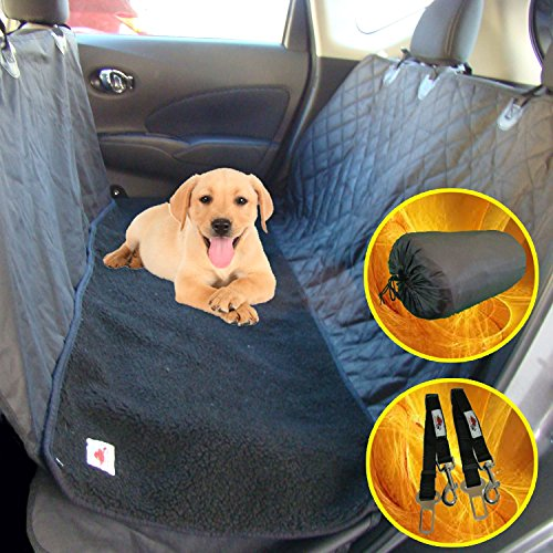 The Ultimate Waterproof Non-slip Pet Seat Cover/Hammock and Soft Washable Black Fleece Dog Bed - 2 Piece Set - 58