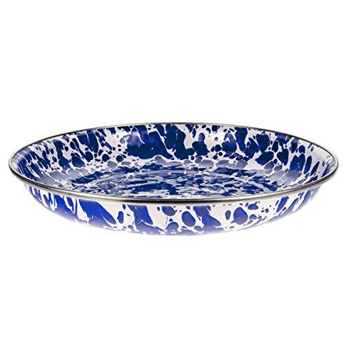 Enamelware - Colbalt Blue Swirl Pattern - 10 Inch Pasta Plate