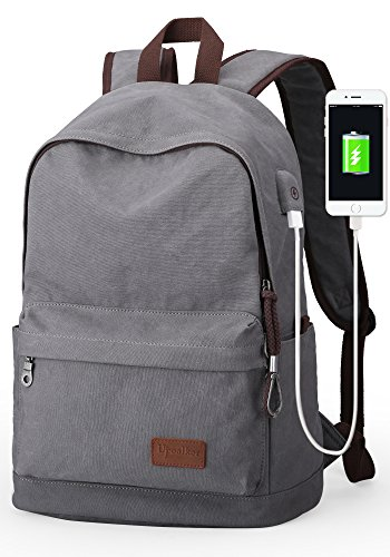 Upoalker Canvas Backpack for School Travel Daypack Fits up to 15.6 inch Laptop (Gray(USB port))