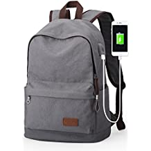 Upoalker Canvas Backpack for School Travel Daypack Fits up to 15.6 inch Laptop