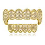 Lureen Gold Silver Iced Out CZ Vampire Fangs Grillz Set + EXTRA Molding Bars (Gold Set)