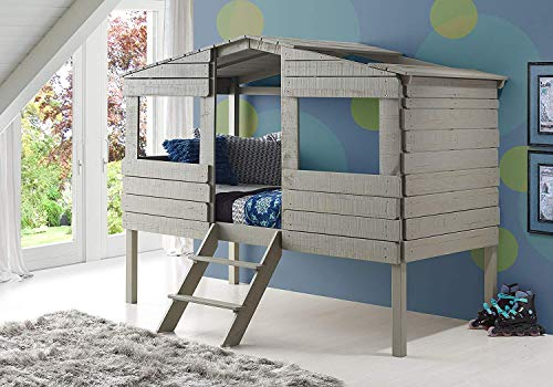Donco Kids 1380TLRG Tree House Low Loft Bed Twin Rustic ()