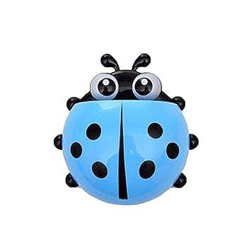 Greetuny 1pcs Dibujos Animados Porta Cepillo de Dientes Infantil Lindo Mariquitas Decorativas Pasta de Dientes Organizador baño ventosas con Gancho (Azul): ...