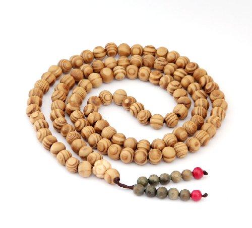 OVALBUY 8mm 108 Wood Beads Tibetan Buddhist Prayer Meditation Mala Necklace