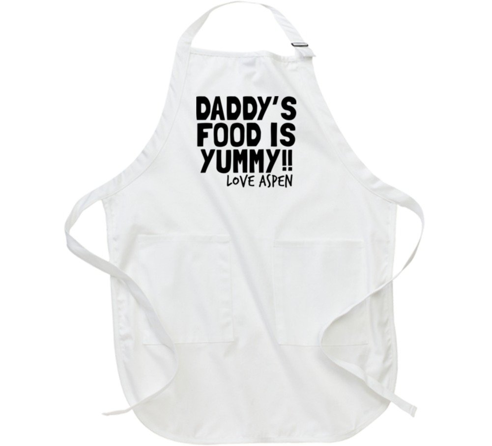 Daddy's Food is Yummy Love Aspen Cooking Chef Father's Day Gift Apron L White