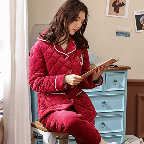 162cm Velvet Ladies Winter Pajamasx Can Thick M150 layer Service Suit Plus Be Autumn Coral Cute 50kg Warm 30 Home Quilted And Three Worn Outside Pajamas B0Cqp