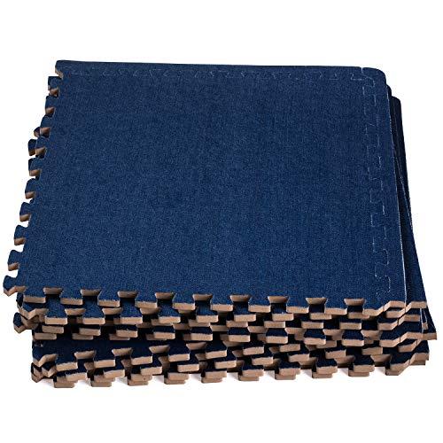 (Dooboe Interlocking Foam Mats - Interlocking Foam Floor Mats - Interlocking Floor Tiles - Dark Jean - Non-Toxic, Anti-Fatigue, Premium Puzzle Floor Mat with)