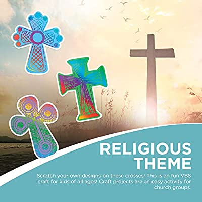Colored Cross Magic Scratch - 24 Count - Crafts for Kids and Fun Home Activities: Toys & Games