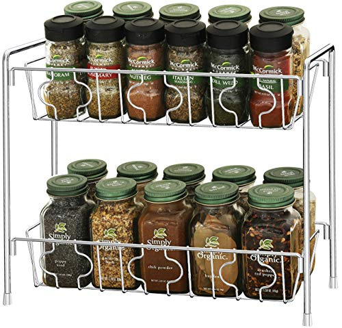 Kitchen SimpleHouseware 2-Tier Kitchen Counter Organizer Spice Rack + 12-Pack 4 Ounce Square Spice Bottles w/label spice racks