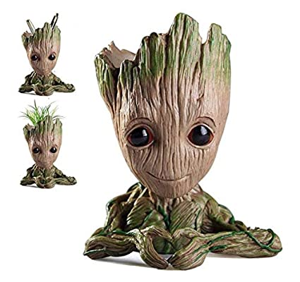 Baby Groot Flowerpot Tree Man Planter Flower Pot with Drainage Hole Pencil Pen Holder,Diligencer Office Party Ornament Christmas Birthday Gift Planter 6