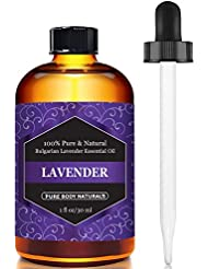 Pure Body Naturals Bulgarian Lavender Essential Oil, Certified 100% Pure, Therapeutic Grade, 1 Fl. Oz. (30 ml)